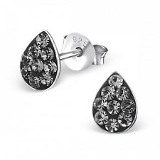 Sterling Silver 925 Grey Crystal Tear Drop Stud Earrings