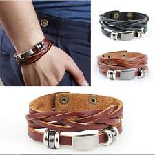 Vintage Surfer Metal Steel Leather Bangle Bracelet Studded Cuff