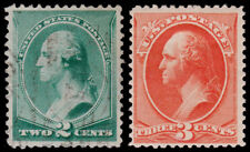 United States Scott 213-214 (1887) UsedMint H F-Vf, Cv $60.25 B.