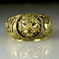 LION Brass Antique Gold Color Men's Wedding Giraffes Eagle Lion Ring Size 14 M57