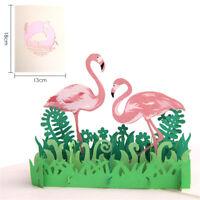 3D PopUp Flamingo Card Handmade Postcards Laser Cut Greeting Cards_WK