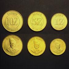 Zaire Set 3 Coins, 1+5+10 Zaires, 1987-1988, A-UNC