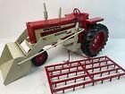 Vintage 1960's ERTL Farmall 806 Farm Tractor IH Loader drag rake