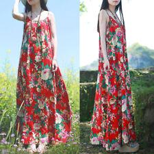 9d65e31fd04 Women s Spaghetti Strap Boho Long Maxi Dress Floral Print Summer Boho  Sundress
