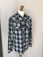 G-STAR RAW Mens Blue White Checked Check Long Sleeve Shirt Large L 100% Cotton