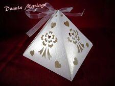 boite à gâteau forme de pyramide blanc pour mariage ou baptême x25