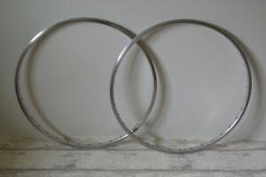 Vintage Alesa Alloy Wheel Rims 36 Holes 617-622 700c Pair Silver Made In Belgium