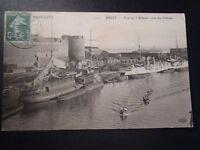 CPA Brest vue sur l'arsenal côté du château