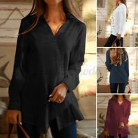 Womens Retro Long Sleeve V Neck Buttons Tops Casual Loose Tunic Shirt Tee Blouse