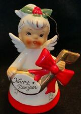 1957 Napco Angel Bell Figurine Holding Music Note Happy New Year- Repaired