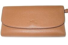 Coach New Authentic Saddle Pebbled Leather Checkbook Wallet F56488 NWT $250