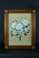 Beau tableau jeté de fleurs Roses Still life German 1896 A . Wimmer Cadre Acajou
