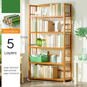 5 Tier 157cm Bamboo Bookshelf Storage Rack Shelf Stand Bookcase Holder Display
