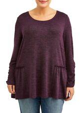NWT Women's Hacci Peplum 3/4 Sleeve Scoopneck Knit Top Purple Plus Size 3X