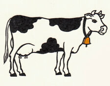 Ceramic Decals Cow with Bell Farm Animal
