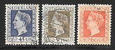 NVPH 487 - 489 Wilhelmina 1948 gebruikt / used