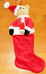 Cute Soft Teddy Bear Christmas Stocking In Very Good Used Condition Xmas Hanging