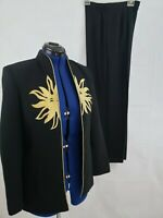 Vtg Night Lights women 2 Piece Pant Suit Separates embroidered Sun size 4 Q78