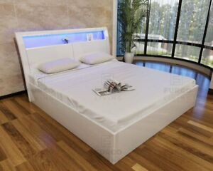 MADRID WHITE HIGH GLOSS MDF WOODEN OTTOMAN STORAGE BED WITH BASE & LED LIGHT