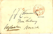 RAILWAY:1869 two line IPSWICH /DISTRICT SORT. CARR. on envelope