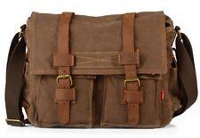 "Men's Military Canvas Leather Satchel School 14"" Laptop Shoulder Messenger Bag Coffee"