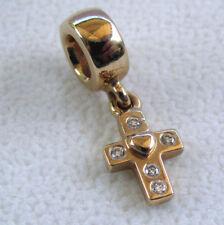 100% Authentic Pandora 14ct gold Diamond cross charm pendant bead
