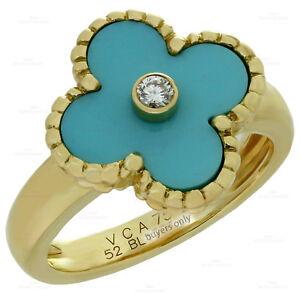 VAN CLEEF & ARPELS Vintage Alhambra Diamond Turquoise 18k Yellow Gold Ring