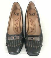 Sofft Womens Size 6.5 M Black Kiltie Tapered Kitten Heel Slip On Shoes 1010501
