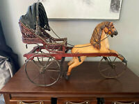 Large Antique Wood Carved horse and Carriage
