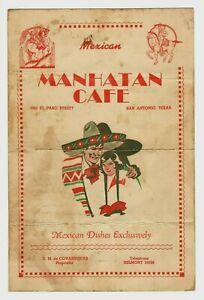 Vintage Menu: MEXICAN MANHATAN CAFE in San Antonio, Texas  -  Very Old / Used