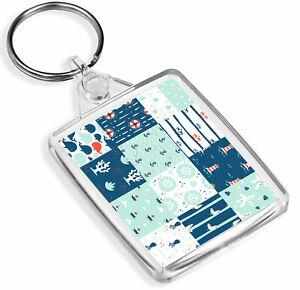 1 x Cute Blue Seaside Nautical Sea Fun- Keyring- IP02 - Mum Dad Kids Gift#2329