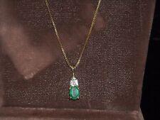 """.5 ct emerald .20 ct diamonds 14k yellow gold pendant G VS 2 SI 1 20"""" chain 193"""