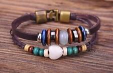 G53 Bronze New Trendy Hemp Leather Wood & Stone Beads Wristband Bracelet Cuff