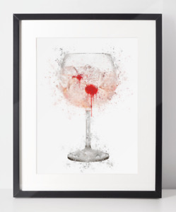Gin Poster | Room Decor | Wall Art Print | Gift Idea | A4 & A3 | Pink Gin Glass