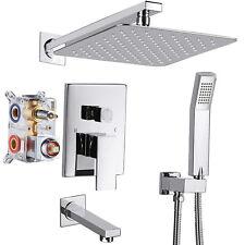 "Chrome Shower Faucet Set 10"" Rainfall Head Combo Kit Tub Filler with Mixer Valve"