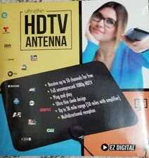 HD TV Antenna HD 1080 EZ Digital Ultrathin  Basic Local Stations 30 mile range