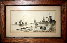 Old Antique painting signed B.T.B. or B.J.B. sail boats windmill charcoal 1800s