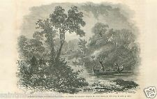 Canoe Saulteaux Indians Fishing Torches Canada GRAVURE ANTIQUE OLD PRINT 1860