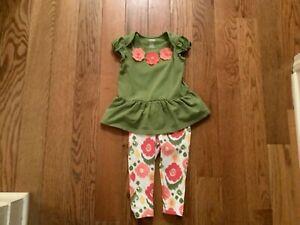 GYMBOREE Girls Sz 12-18M Cotton Polyester 1 PC Top & Leggings Floral Theme
