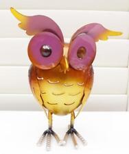 Owl Candle Tea Light Holder Blue & Rusty Orange Gold Metal