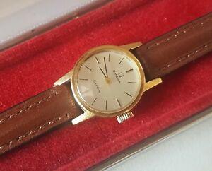 Ladies 1972 .750 18ct Gold Manual Winding Omega Geneve Wrist Watch & Box