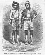 BIRMANIE BURMA MYANMAR LES SOCOU KAREN KARIANG GRAVURE IMAGE 1875