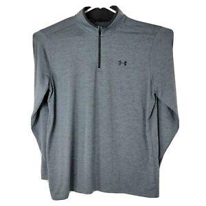 Under Armour Heatgear Mens Sz XL Grey Long Sleeve Pullover 1/4 Zip Golf Sweater