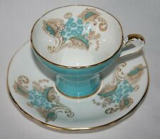 Aynsley England #1168 Turquoise White Gold Feather Corset Cup & Saucer Set
