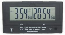 MFJ-148RC Dual Time 24/12-Hour LCD Atomic Clock w/ GMT Zone and ID Timer