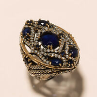 Natural Ceylon Sapphire Ring 925 Sterling Silver Two Tone Turkish Easter Jewelry