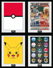 Pokemon Framed Print Poster Pikachu Pokeballs Squirtle Charmander Red Go 30x40cm