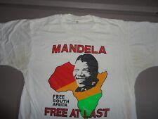 Vintage NELSON MANDELA Free At Last non tour Rap Hip Hop Paper Thin  t Shirt M
