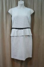 Nine West Dress Sz 14 White Black Striped Peplum Belted Waist Cocktail Business