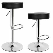 2 Bar Stools Set Faux Leather Kitchen Stool Breakfast Chair Chrome 1x Lounge 2x Sebastian | 401562